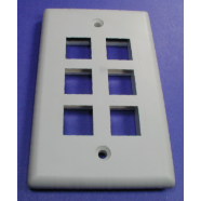Face plate, 6 hole for snap in modular jack, 1 piece.