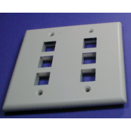 Face plate 6 hole double wide for snap in modular jacks, 1 piece.