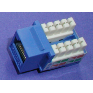 Cat 5e modular jack, blue, 8 position.