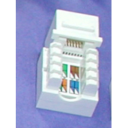 Cat 5e modular jack, white, 8 position.