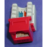 Cat 5e modular jack, red, 8 position.