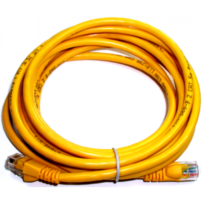 Cat 5e computer cable, 3\' yellow, 24 AWG.